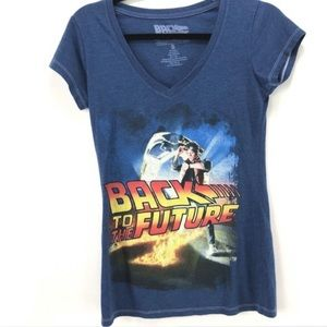 Back to the Future Movie V-Neck Graphic T-Shirt S